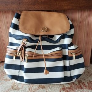 Tory Burch Navy White Striped Viva Backpack EUC